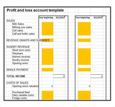 profit and loss free template profit and loss template 18 free documents in