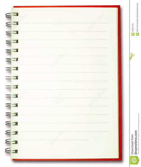 blank plain line spiral red cover notebook isolate stock