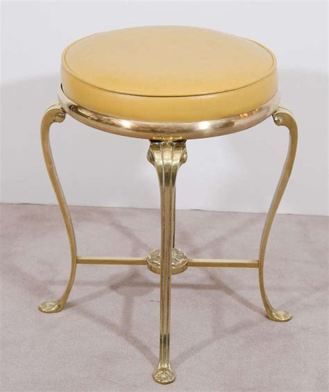 brass vanity bench 1950s brass vanity stool with original yellow vinyl