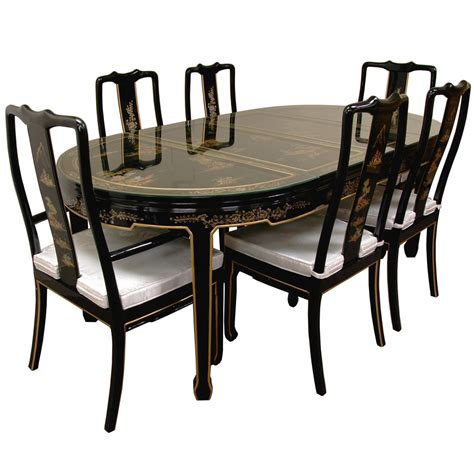 dining table dining table lacquer hand painted on black lacquer dining table w 6 chairs