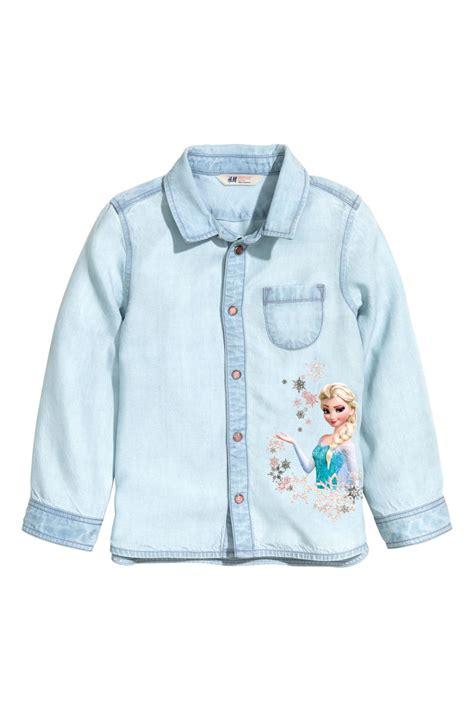 Frozon Hm 7y Sale printed denim shirt light denim blue frozen sale h m us