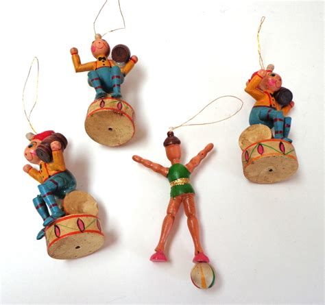 german painted wood christmas ornaments circus theme v