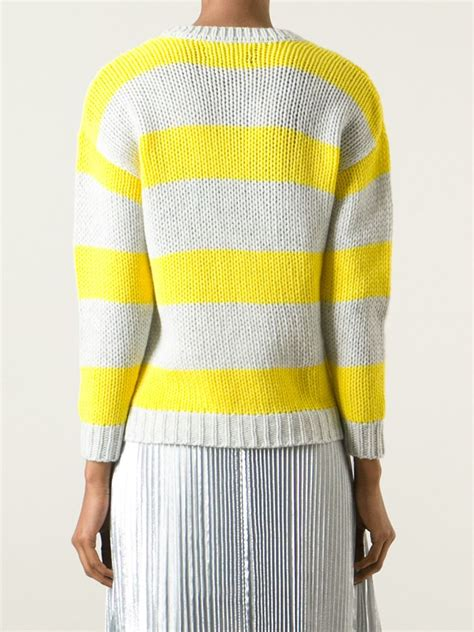 Striped Chunky Sweater lyst zadig voltaire striped chunky knit sweater in yellow