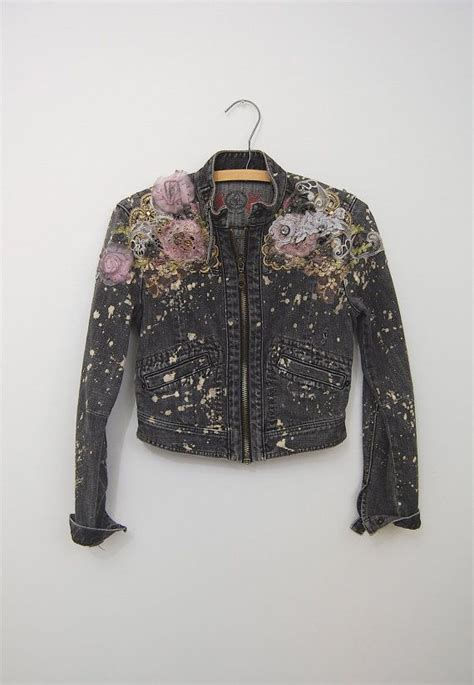upcycled denim jacket ombre dyed lace bleached small