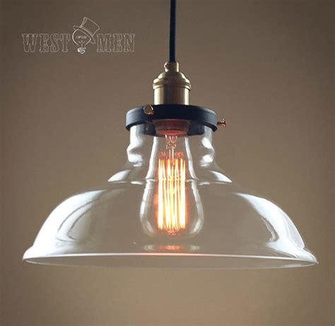 Rustic Rural Clear Glass Bell Shade Pendant Light Retro Clear Glass Pendant Lights For Kitchen Island