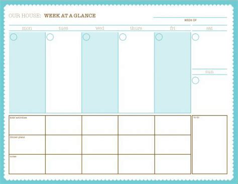 Printable Week At A Glance Online Calendar Templates Schedule At A Glance Template
