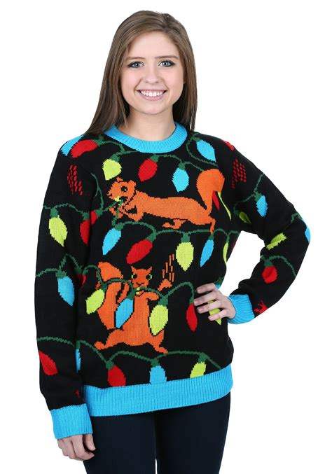 ugly christmas sweater with lights squirrely christmas lights ugly christmas sweater