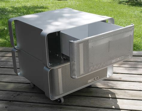 mac pro bench discarded power mac g5s upcycled into modern office
