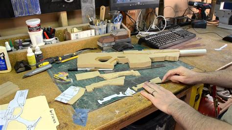 building replica guns from mdf in the shop with punished
