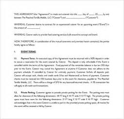 Catering Contract Templates by Catering Contract Template 9 Free Documents In