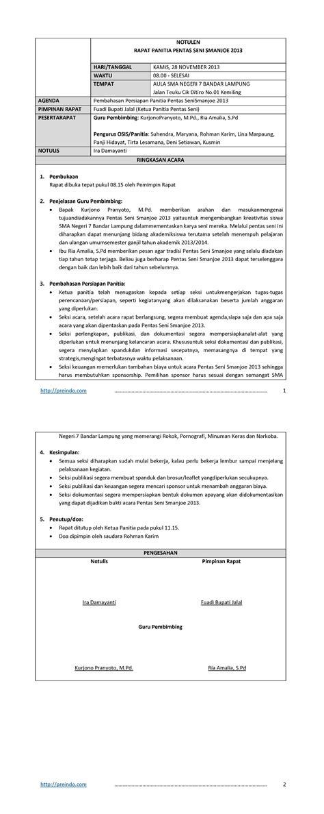 Contoh Notulen Rapat Yang Baik Dan Benar by Contoh Pembuatan Notulen Rapat Contoh Berita Acara