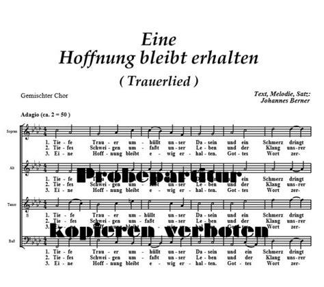 chor der hoffnung eine hoffnung bleibt erhalten verlag berner music