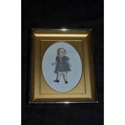 jointed doll furniture antique all bisque doll miniature framed jointed dressed
