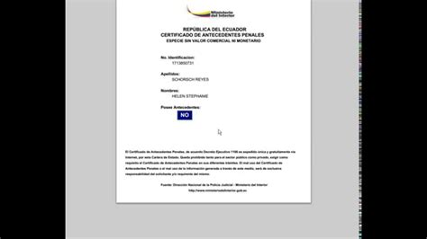 record policial en ecuador record policial certificado de antecedentes penales