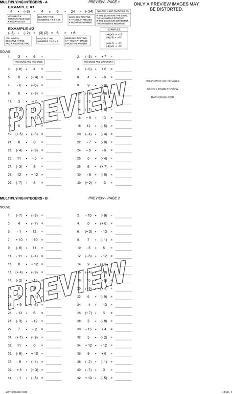 Multiplying And Dividing Integers Worksheets With Answers by Integer Worksheets By Math Crush