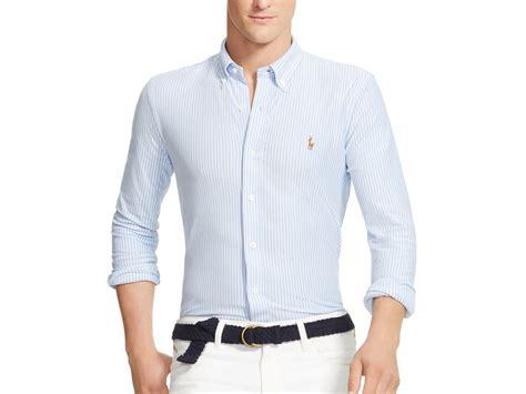 mens knit button shirt polo ralph striped knit oxford slim fit button