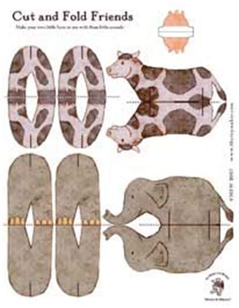 Folding Paper Animals Templates - free printable cut and fold animal friends http www