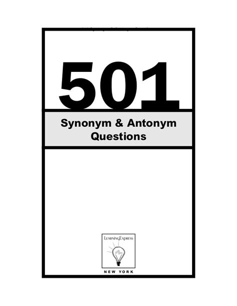 synonym solutions 501 of synonym antonym questions with solutions