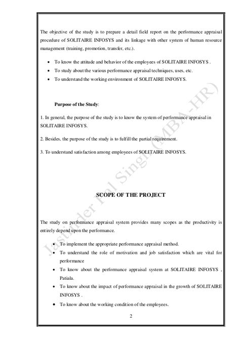 Mba Project Report On Performance Appraisal System by Performance Appraisal Mba Summer Project
