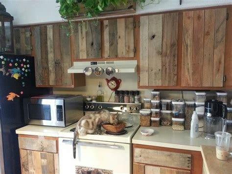 Diy Kitchens Cabinets Diy Cabinet Refacing With Pallet Board Kitchen Pinterest Cats Pallet Cabinet And Pallet