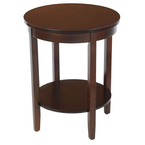 espresso accent table bay shore collection round accent table with wood top