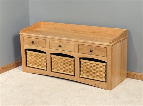 amish small hall storage bench with baskets and drawers