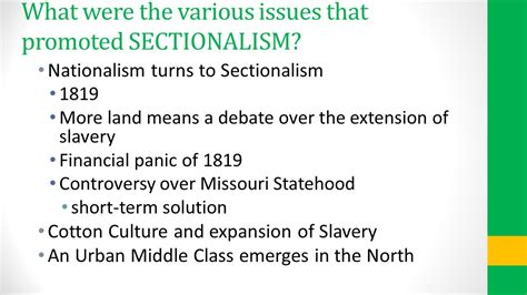 nationalism and sectionalism powerpoint financial panic of 1819 chapter 10 nationalism and
