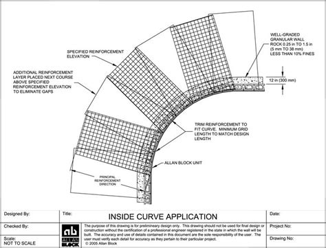 curve section design detail drawings for modular segmental retaining wall