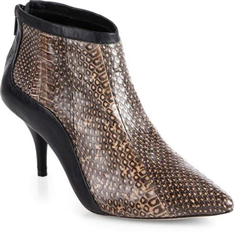 loeffler randall reese snakeskin leather ankle boots in