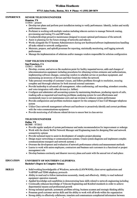 telecom engineer resume format telecom engineer resume sles velvet