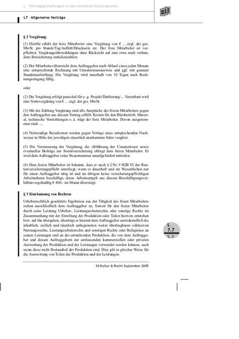 Muster Rechnung Freie Mitarbeit Brune Vertragsmuster 252 Ber Freie Mitarbeit