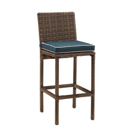 crosley bradenton wicker outdoor bar stool  navy