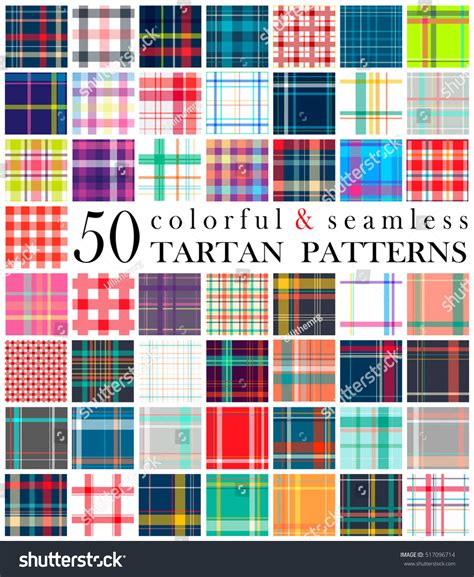 pattern colorful kilt big set 50 tartan seamless pattern stock vector 517096714