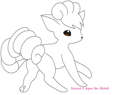 pokemon coloring pages ninetales vulpix lineart by tobiseh on deviantart
