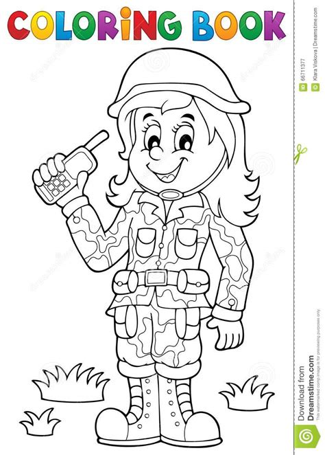 army themed coloring pages coloring book female soldier theme 1 stock vector image