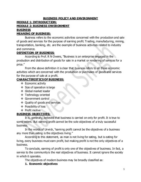 Corporate Environment Notes Mba by Business Policy And Environment Notes