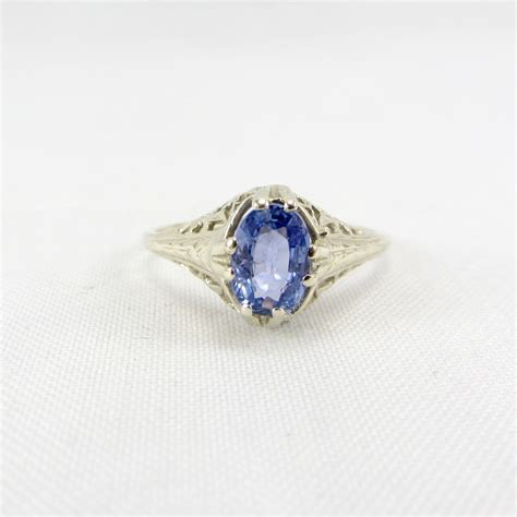vintage deco 14k sapphire ring white gold by