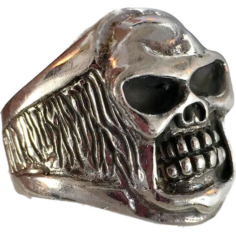 Skull Ring Vintage skull ring vintage ring sterling silver big heavy
