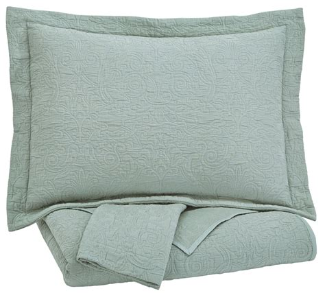 green coverlets bazek sage green king coverlet set from ashley q757023k