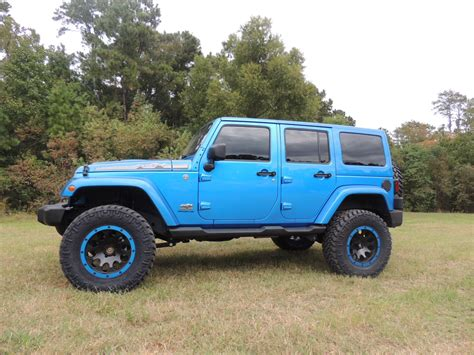 blue jeep 2 door 2014 jeep jk 4 door hydro blue texas truck works