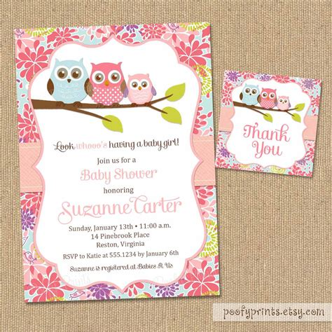 printable invitations on etsy owl baby shower invitations diy printable baby girl