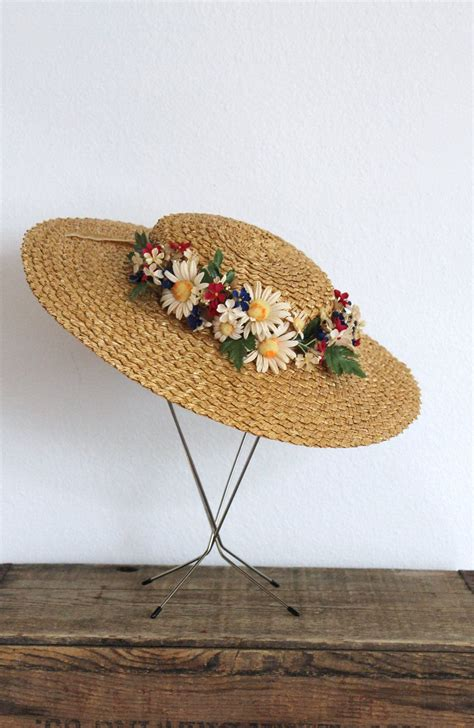 Floral Straw Hat 30 all items vintage 1930s straw hat 30s wide brim
