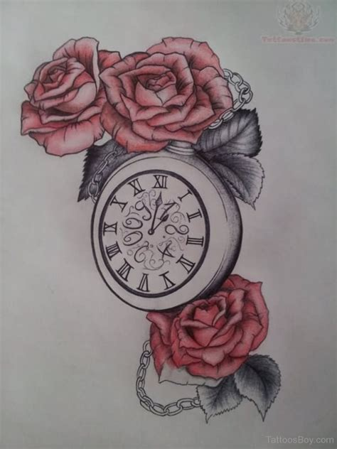clock rose tattoo clock tattoos designs pictures page 16