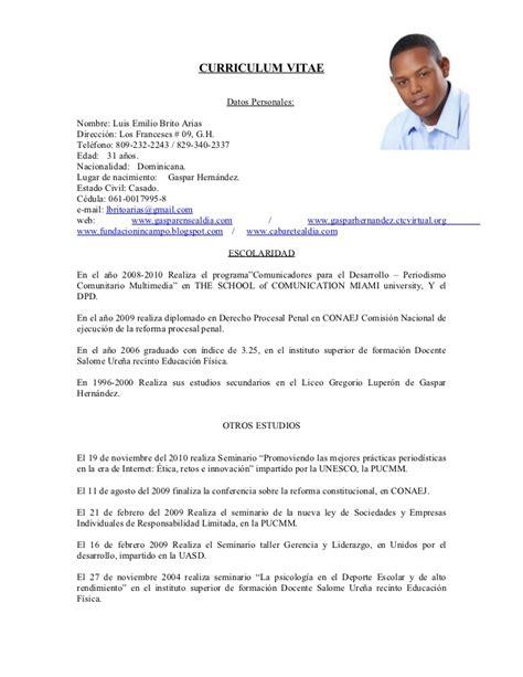 Modelo Curriculum Republica Dominicana Curriculum Vitae Luis Brito