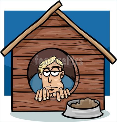 man in the dog house in the dog house saying cartoon stock illustration i3930625 at featurepics