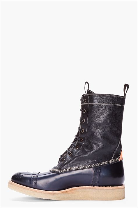 paul smith boots mens lyst paul smith black combo leather kanahwa boots in