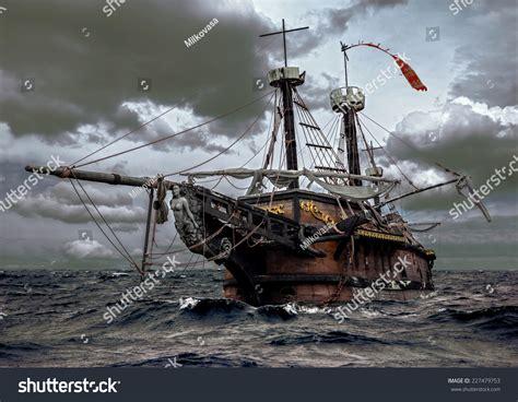 sailing boat in a storm abandoned historic sailing ship stormy sea stock photo