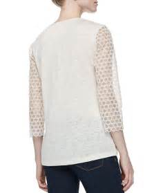 Tali Top burch tali 3 4 sleeve combo honeycomb top