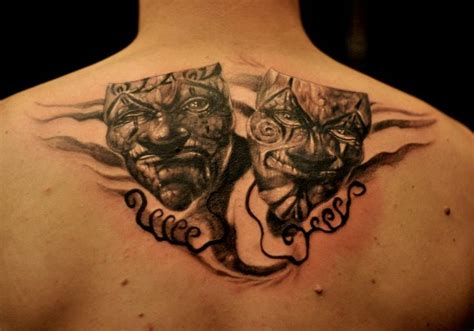 theatre mask tattoo designs chronic ink tattoos toronto theatre masks by