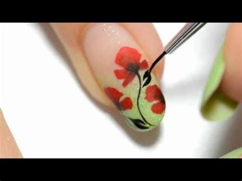easy nail art one stroke easy nail art poppy design one stroke youtube
